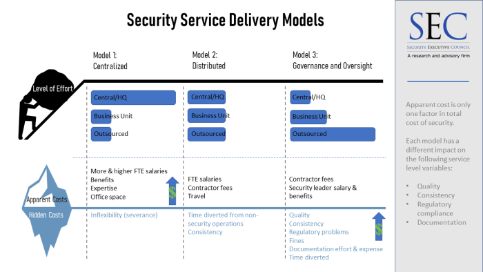 Graphic showing the same information about Service Delivery Models as provided in the text